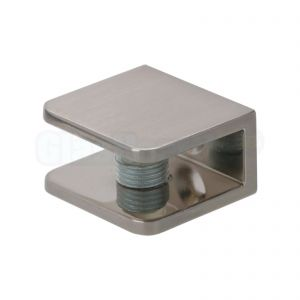 Glasplaatdrager 30x27x16 - afwerking RVS effect