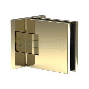 Pauli+Sohn Flamea+ 8134ZNPVD20 douchedeurscharnier met dubbelzijdige montageplaat, glanzend goud – aanzicht